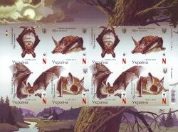 Ukraine. WWF. The bats. Set of 2 sets of 4 imperforate stamps